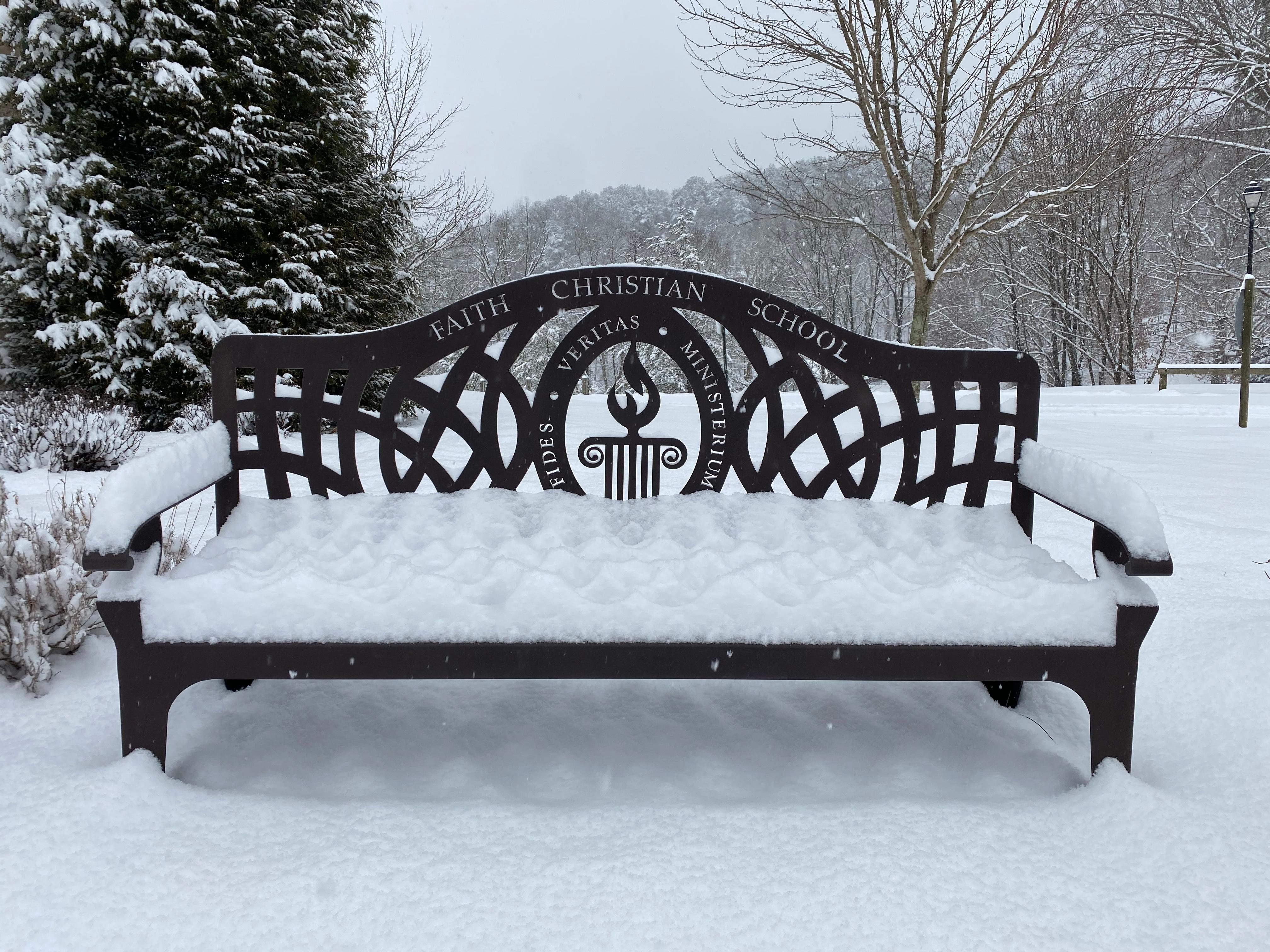 Snow on bench January 2021
